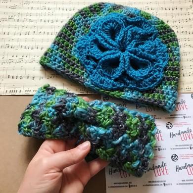 Комплект зимна шапка Цвете и преплетена лента за глава в меланж от цветове по избор