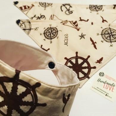 Ръчно изработена бандана лигавник за бебе Море