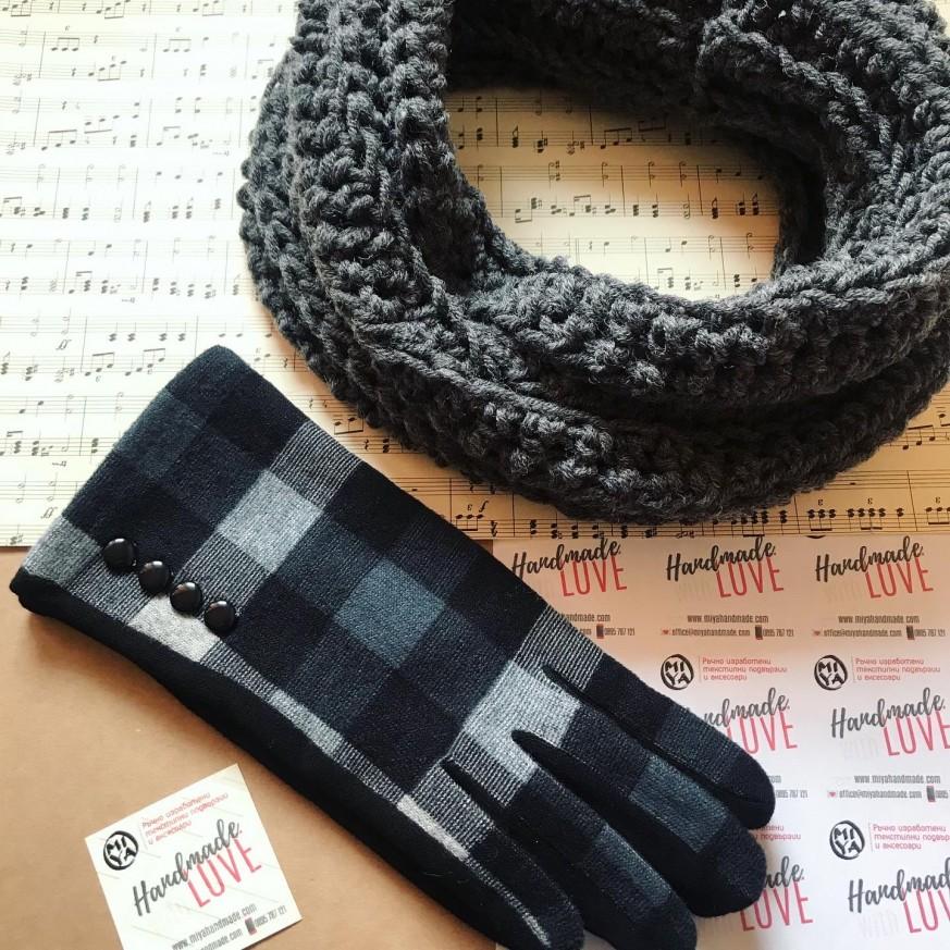 Комплект плетен шал тип яка и ръкавици в сиво