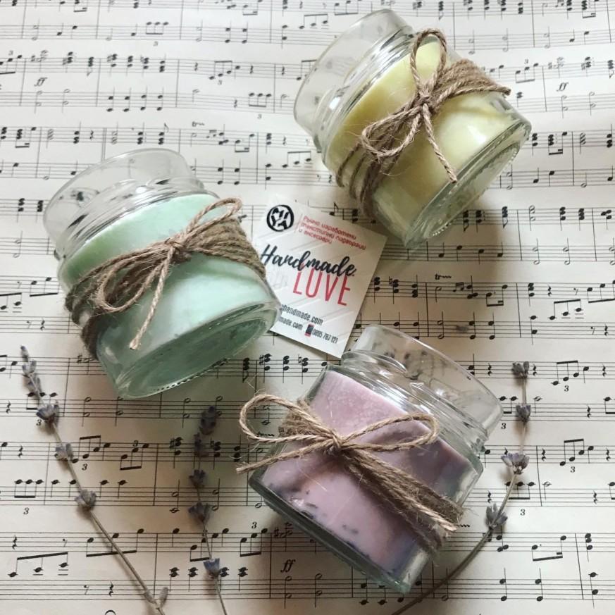 Комплект от три соеви свещи в подаръчна кутия