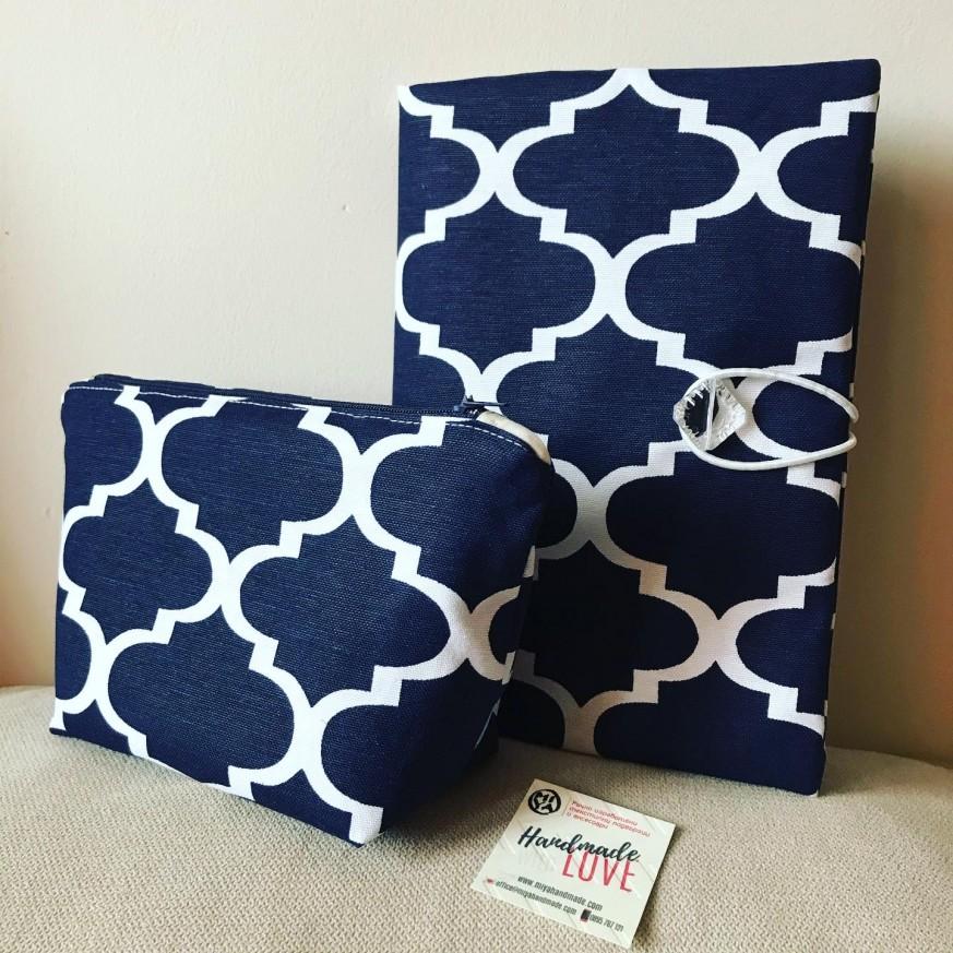 Комплект Орнаменти подвързия за книга и несесер в тъмно синьо