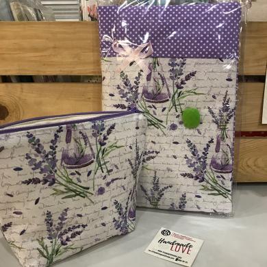 Комплект ръчно изработена подвързия за книга с лавандула с панделка и несесер