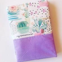 Текстилна подвързия за учебник и тетрадка голям формат с десен с кактуси и лилаво на точки
