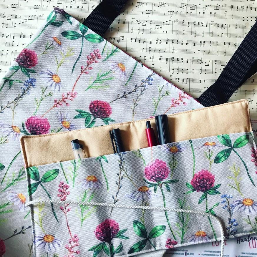 Комплект дамска текстилна чанта с дълги дръжки и органайзер Природа