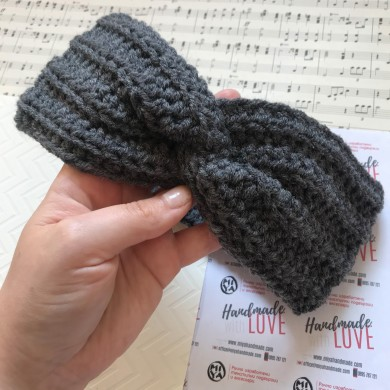 Сива плетена лента за глава с прехвърляне