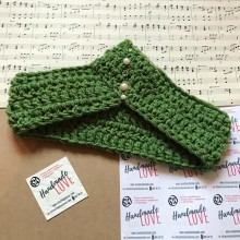 Плетена лента за глава Тиара в зелено с мъниста