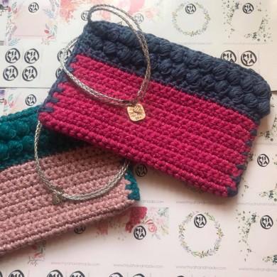 Плетена чанта клъч колекция Dreaming of the sea в комбинация от 2 цвята