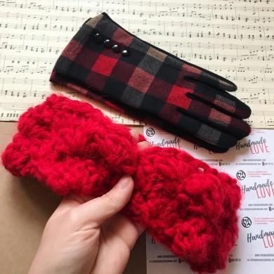 Плетени ленти за глава Цвете в класическо червено