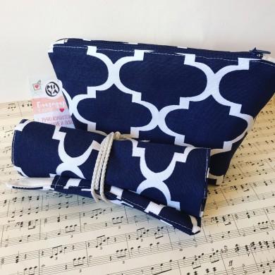 Комплект Орнаменти с несесер и органайзер в тъмно синьо с бели орнаменти