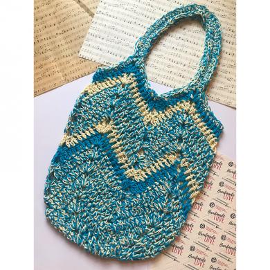 Голяма плетена чанта в синьо меланж