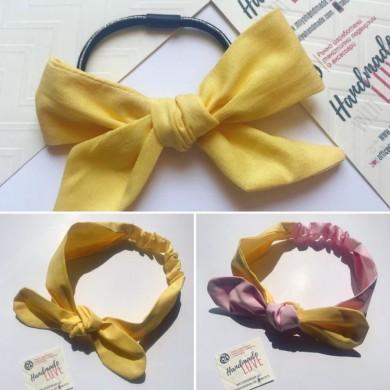 Жълт комплект от лента и ластик за коса