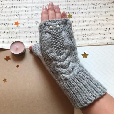 Дамски плетени ръкавици Бухалче в сиво