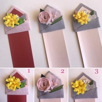 Ръчно изработен книгоразделител с букет цветя в пощенски плик от филц