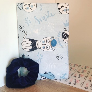 Комплект подвързия за книга Котки в синьо и ластик за коса