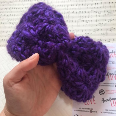 Плетена лента за глава Цвете в лилаво