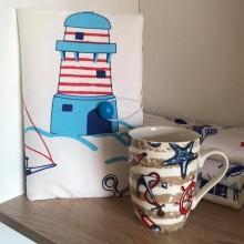 Комплект подвързия за книга и чаша с морски мотив