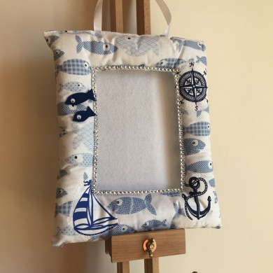 Текстилна рамка за снимка 10 на 15см. с рибки