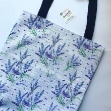 Дамска чанта от текстил Лавандула с вътрешен джоб и дълги дръжки