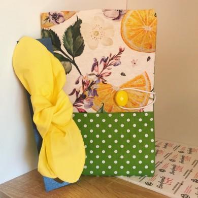 Комплект подвързия за книга Цитрус и жълта лента за коса