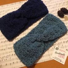Зимна лента за глава Цвете в тъмно синьо