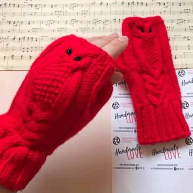 Дамски зимни плетени ръкавици без пръсти Бухалче в червено