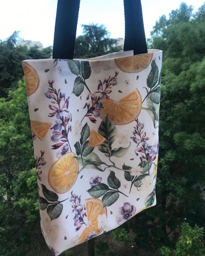 Дамска чанта от текстил Портокали с вътрешен джоб и дъно
