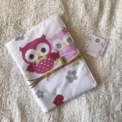 Калъф за памперси и други бебешки принадлежности с десен с бухалчета