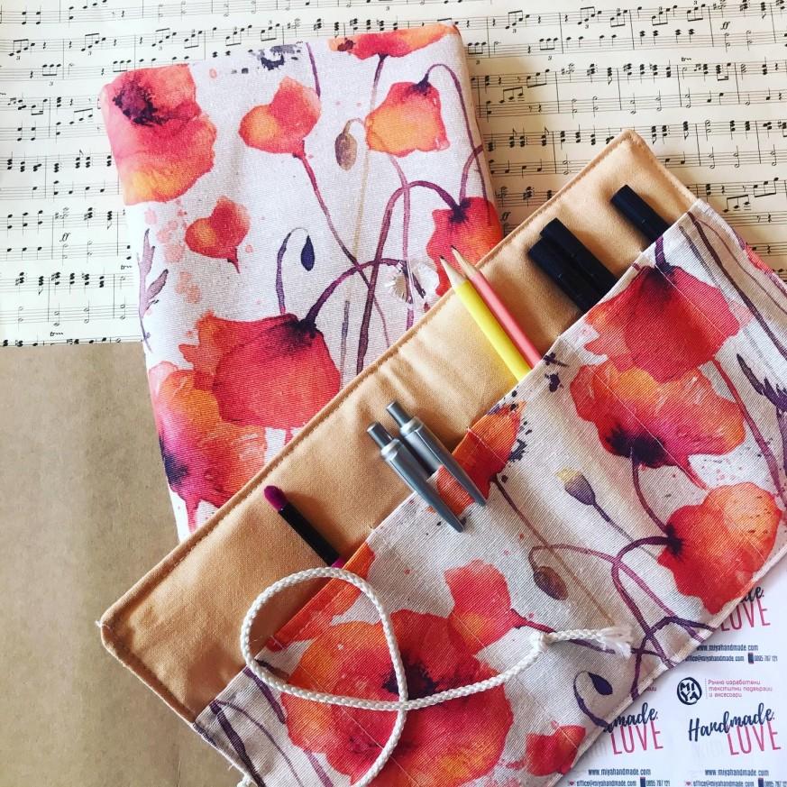 Подаръчен комплект Макове с подвързия за книга и органайзер
