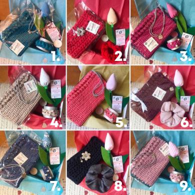 Специална подаръчна кутия с плетена клъч чанта, плетена гривна, текстилно лале и подаръци