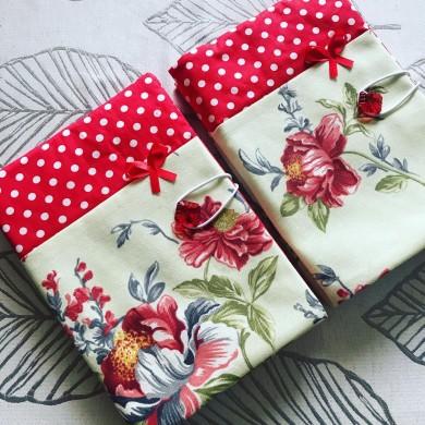 Текстилна подвързия за книга Цветна градина Божури с панделка