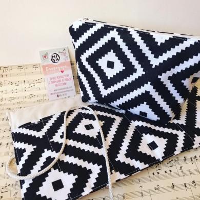 Комплект несесер и органайзер Орнаменти в бяло и черно
