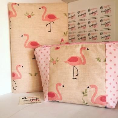 Подвързия за книга + несесер с цип Фламинго