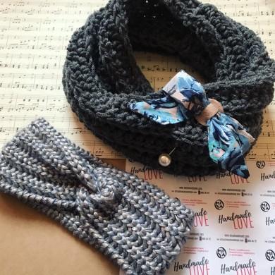 Комплект плетени зимни аксесоари шал с брошка и лента за глава в цвят по избор