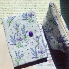 Комплект лавандула - ръчно изработена подвързия за книга и несесер