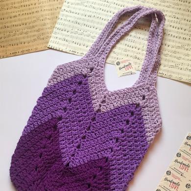 Лилава плетена чанта в три нюанса с дълги дръжки